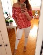 Czerwona biała bluzka hiszpanka ramiona S 36