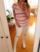 Biała różowa bluzka w paski Ralph Lauren Polo paski M 38