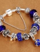 Bransoletka modułowa charms crystal blue rose 19cm