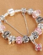 Bransoletka modułowa charms crystal pink rose 19cm