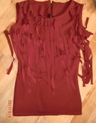 Bordowa bluzka frędzle 34