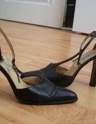 Buty skórzane czarne 38 botki sandały