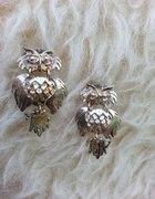 srebrne kolczyki sowa