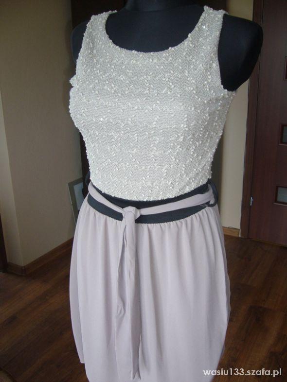 popielata śliczna sukienka szyfonowy dół