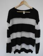 Vila sweter w paski oversize czarno biały XL