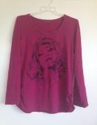Fuksja różowa bluzka długi rękaw S M L 36 38 40 na...