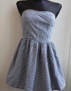 Sukienka rozkloszowana w pepitkę XS S 34 36