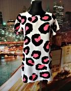 cameo rose sukienka mini panterka neonowa 36 S