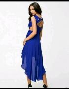 suknia asymetryczna xs chabrowa oneness Asos wycięcia