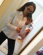 Biała koszula z długim rękawem Benetton