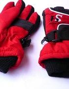 Czerwono czarne rękawiczki na zimę rozm dziecięcy