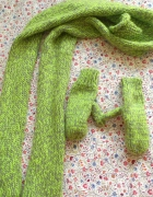 HM komplet rękawiczki szalik zielone neon neonowe