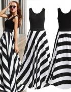 Sukienka maxi czarno biała