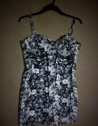 Czarno biała gorsetowa sukienka ołówkowa midi 40...