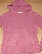 Sweterek różowy z kapturem kangurek 8 9 lat