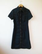 Długa jeansowa ciemno granatowa sukienka H&M rozm M 38