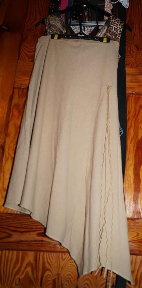 Spódnica długa lniana asymetryczna letnia plus bluzeczka gratis rozmiar