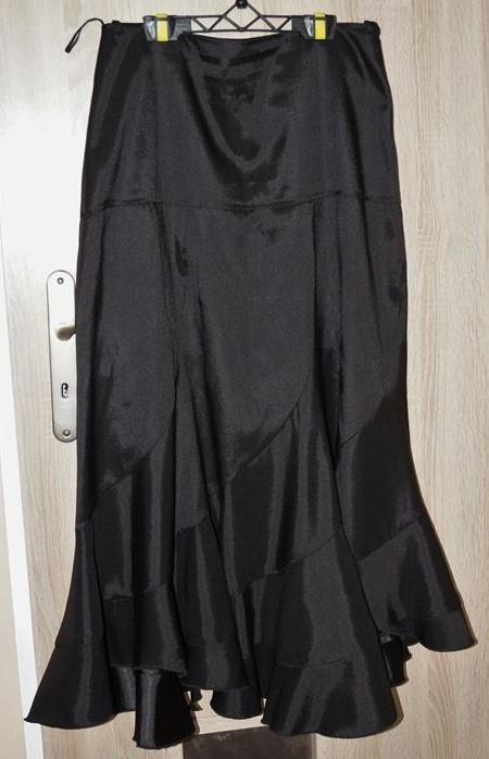 Spódnica długa czarna atłasowa falbana rozmiar L