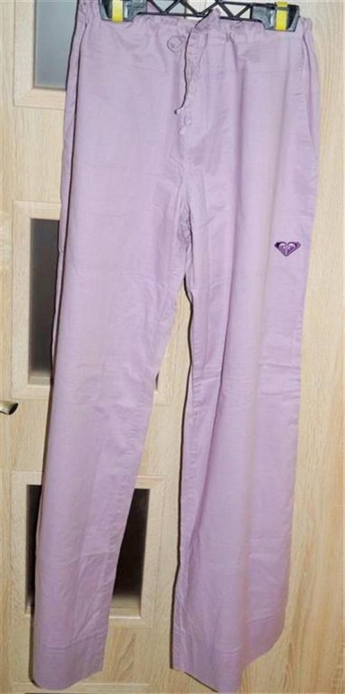 Spodnie damskie na lato przewiewne fioletowe rozmiar S długie nogawki
