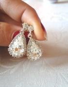 posrebrzane kolczyki wkręty łezka kryształ piękne
