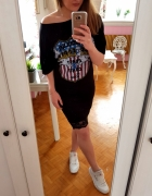 Czarna sukienka nadruk koronka XXL 44