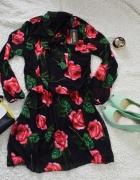 Sukienka czarna w kwiaty rozm SM
