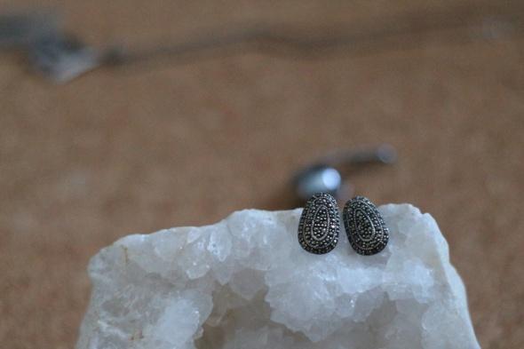 Stare srebro 925 kolczyki Rosja kwarc dymny