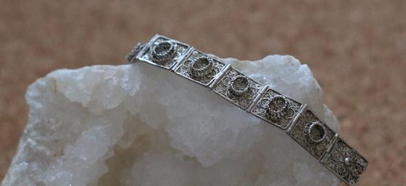 cudowny filigran stara srebrna filigranowa bransoletka