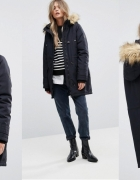 Czarny płaszcz parka Vero Moda z futerkiem