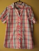 koszula w różowo niebieska krateczkę
