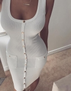 Biała prążkowana sukienka złote guziki