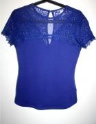 kobaltowa koronkowa bluzka H&M36 S niebieska...