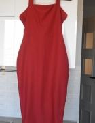 Boohoo ruda sukienka bodycon midi wesele