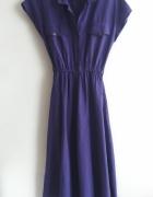 sukienka fioletowa vintage m midi