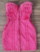 HM Gorsetowa jeansowa różowa sukienka...