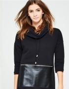 Reserved czarna sukienka golf kieszeń eko skóra L