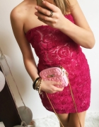 Różowa sukienka Damska bolerko róże M