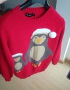 Czerwony zimowy sweter...