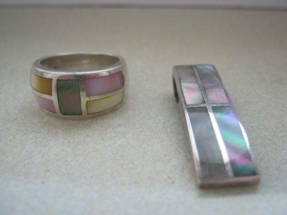 srebrny komplet z masa perlowa