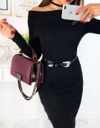Śliczna czarna sukienka odkryte ramiona