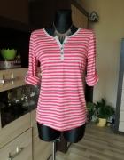 Różowo szara bluzeczka w paski z guziczkami