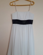 Biała ecru zwiewna sukienka na ramiączka rozklosz...