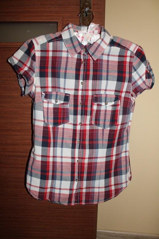 Czerwona koszula w kratę H&M 36 S