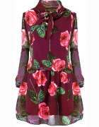 Sukienka bordowa w kwiaty rozm SM