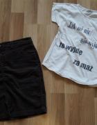 spódnica sztruks brązowa rozmiar M plus koszulka GRATIS