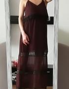 H&M maxi sukienka brąz koronka L