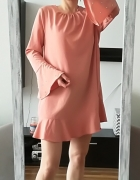Primark sukienka morelowa perły falbana XL