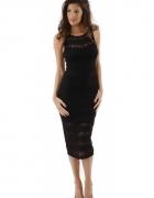 ZACK LONDON Sukienka Midi mała Czarna koronka 34 XS