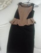 ołówkowa sukienka z baskiną XS S