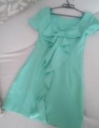 miętowa sukienka kokarda 36